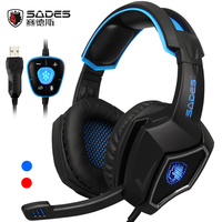 SADES Spirit Wolf 7 1 Surround Sound Gaming Headset Headband 3 5mm Wired Headphones For Laptop