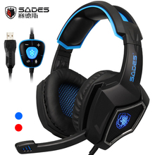 SADES Spirit Wolf USB 7.1 Surround Sound Gaming Headset wired Headphones with Mic Led lights  for laptop pc game