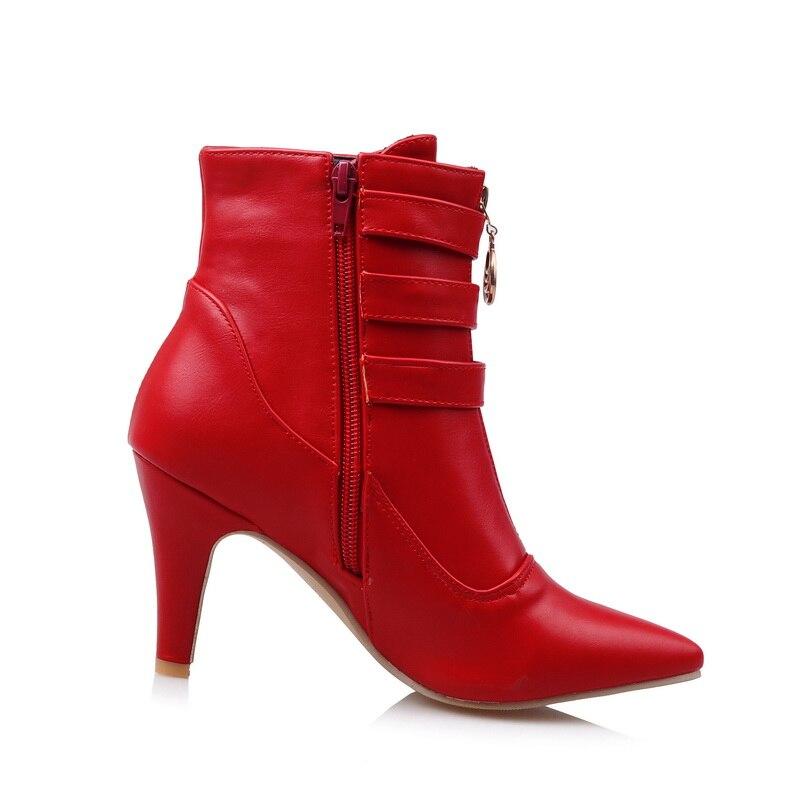 Damas Tamaño Emb08 En Hebilla Tacones Desnuda Botas Nueva 11 Altos Venta Negro Black white Mujer Gran red 45 Spike De Tobillo Zapatos Rojo Caliente 32 vCvzqwaU