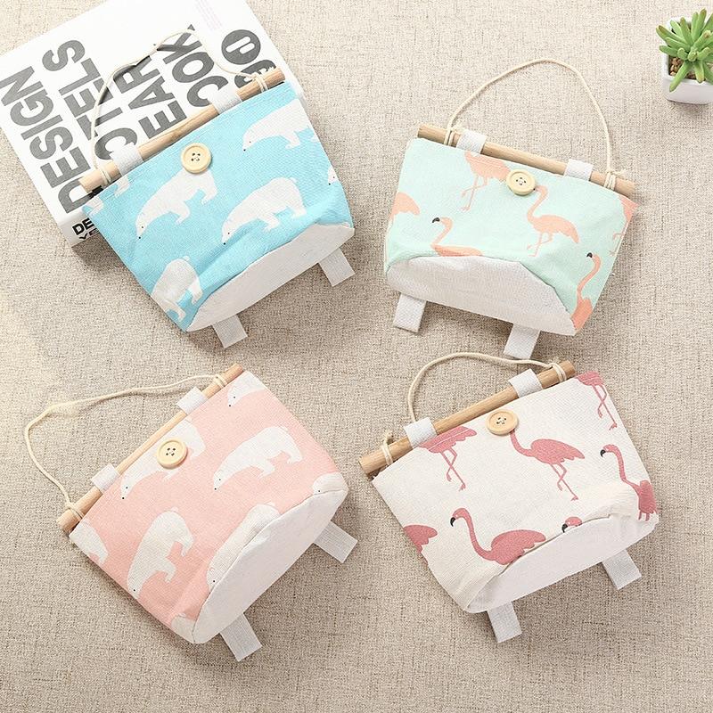 Flamingo Pattern Cotton Cloth Organizer Bra Wardrobe Storage Hanging Storage Bag Socks Hang Bag Pouch Cosmetic Toys Organizer