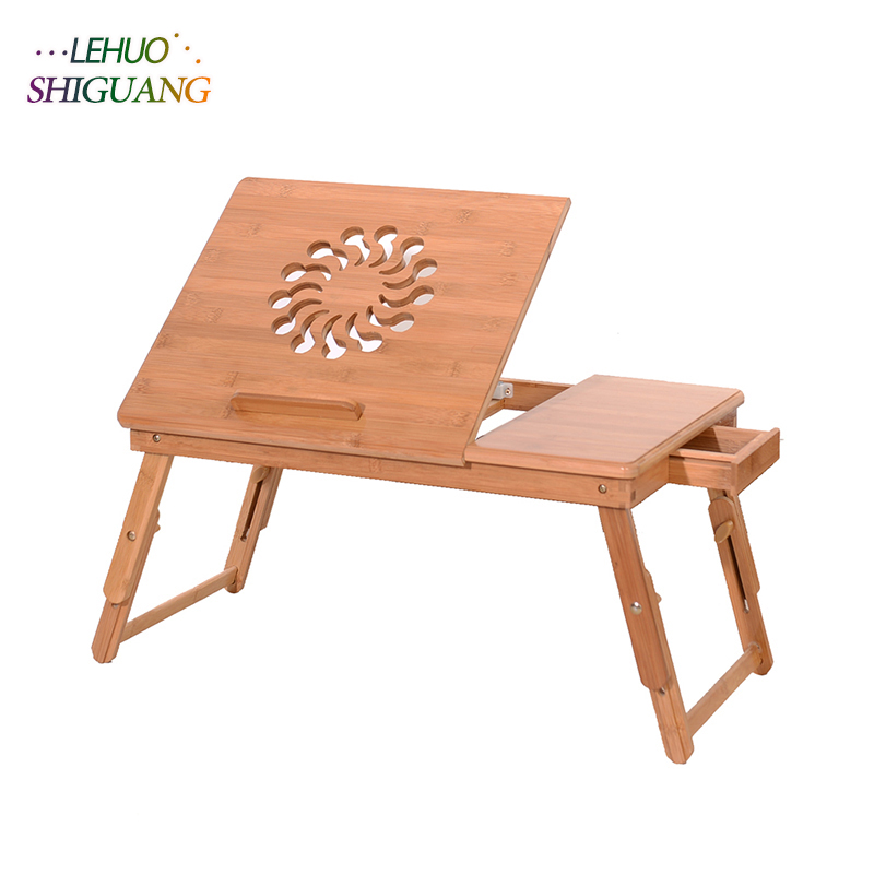 купить Student dormitory Bed desk Folding table Fashion Sunflower Engraving Pattern Sandal Wood Bamboo Computer Desk bedroom furniture по цене 1794.45 рублей