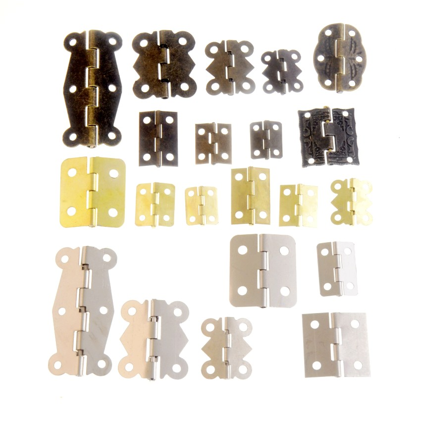 10Set Gold/Silver/Bronze Door Hinges Cabinet Drawer Jewellery Box Decorate Hinge For Furniture Hardware