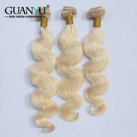 Guanyuhair Indian Blonde Hair Bundles Remy Human Hair Weave 100% Pure 613 Color Body Wave Wefts 1/3/4 Blonde Hair Extensions
