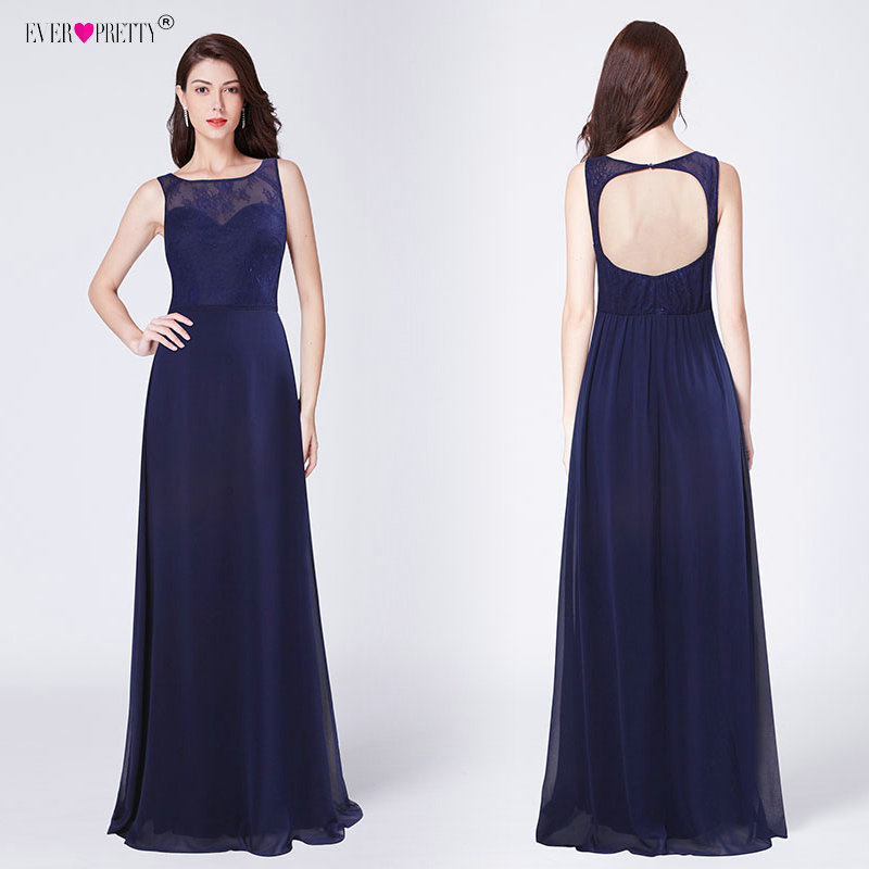 Ever Pretty Sexy   Bridesmaid     Dresses   Long Women's Navy Blue A-line Lace Backless Chiffon Elegant 2019 Wedding Guest Gowns EZ07436