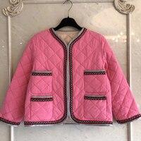 Розовый, короткая куртка Для женщин осень o образным вырезом леди Свободные куртка с длинными рукавами Для женщин 2018 Мода Толстые куртки