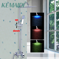 KEMAIDI Shower SetContemporary LED Color Changing Shower Head Wall Mounted Single Handle LED Bathroom Faucet Bathtub Mixer Tap