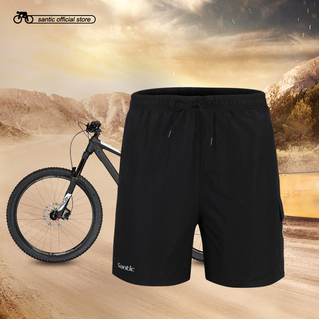 Santic Men Summer Black Cycling Shorts Loose Fit Coolmax 3D Padded Drawcord Design Quick Dry Breathable S-4XL Shorts C05003/S005