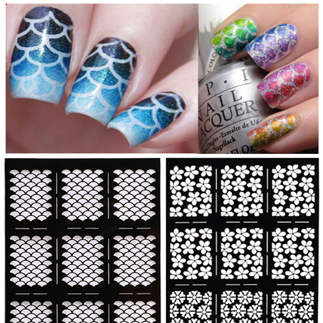 1pcs hollow stickers stencil for nails art design plate for 1pcs hollow stickers stencil for nails art design plate for stamping nail art stamps for manicure prinsesfo Choice Image