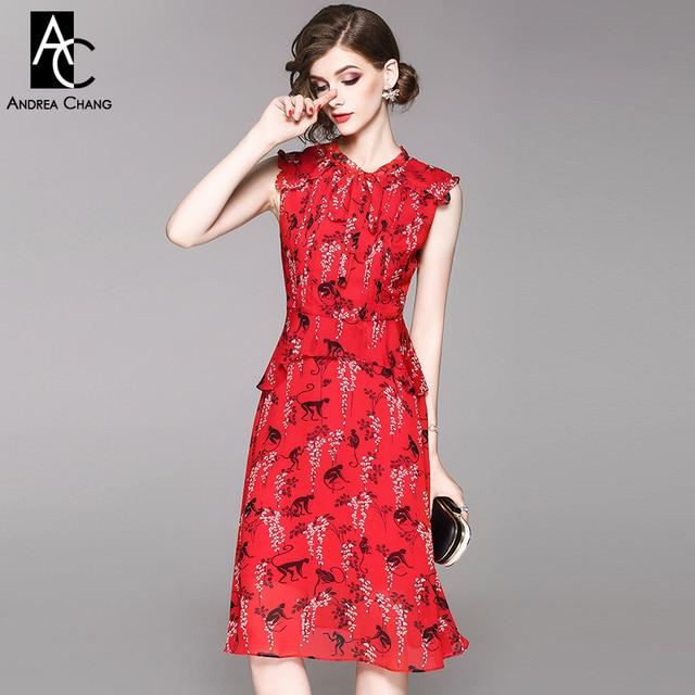 spring summer woman dress white flower black monkey pattern print khaki red  dress ruffled shoulder over 379f1394a04e
