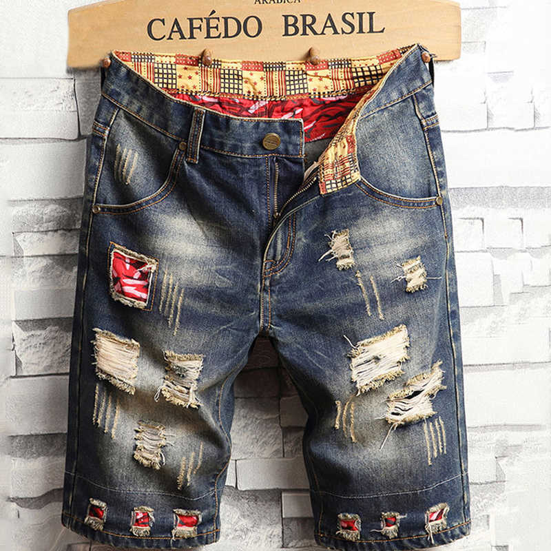 Shorts Men Summer 2019 New Fashion Streetwear Jean Shorts Hole Slim Fit Elastic Denim Mens Short Hip Hop Patchwork Jeans Clothes