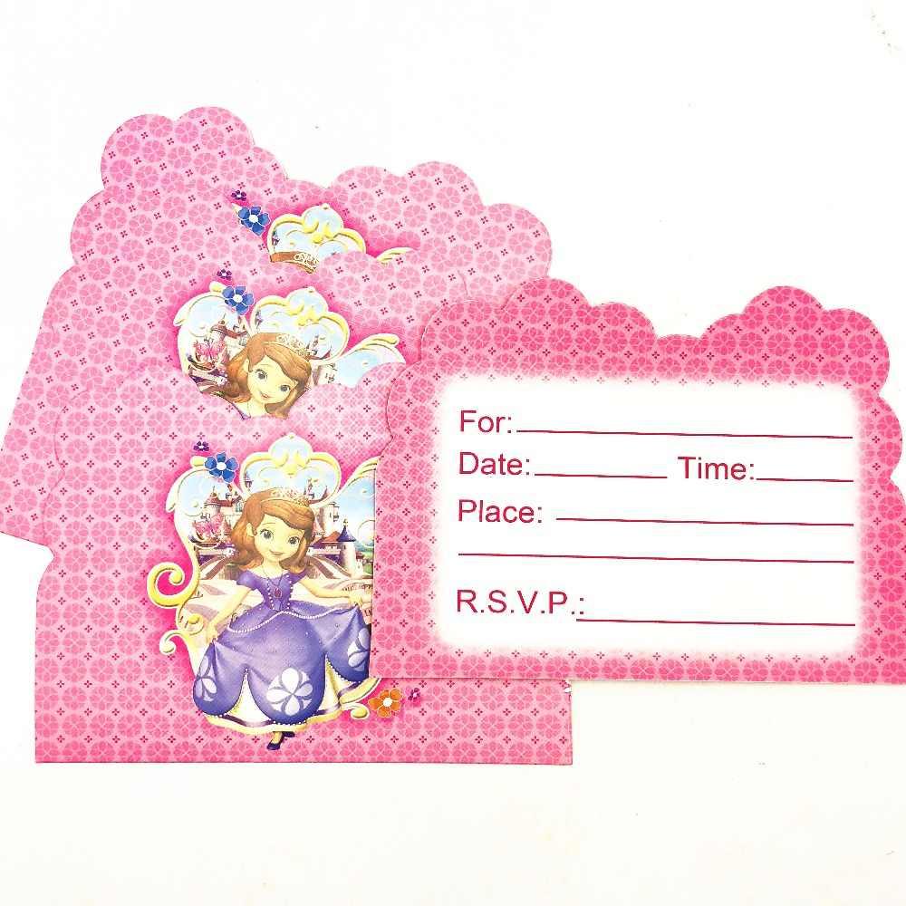 10 Buah/Set Sofia Kartu Undangan Tema Pesta Kertas Perlengkapan Pesta Ulang Tahun Bayi Shower Perlengkapan Pesta Set