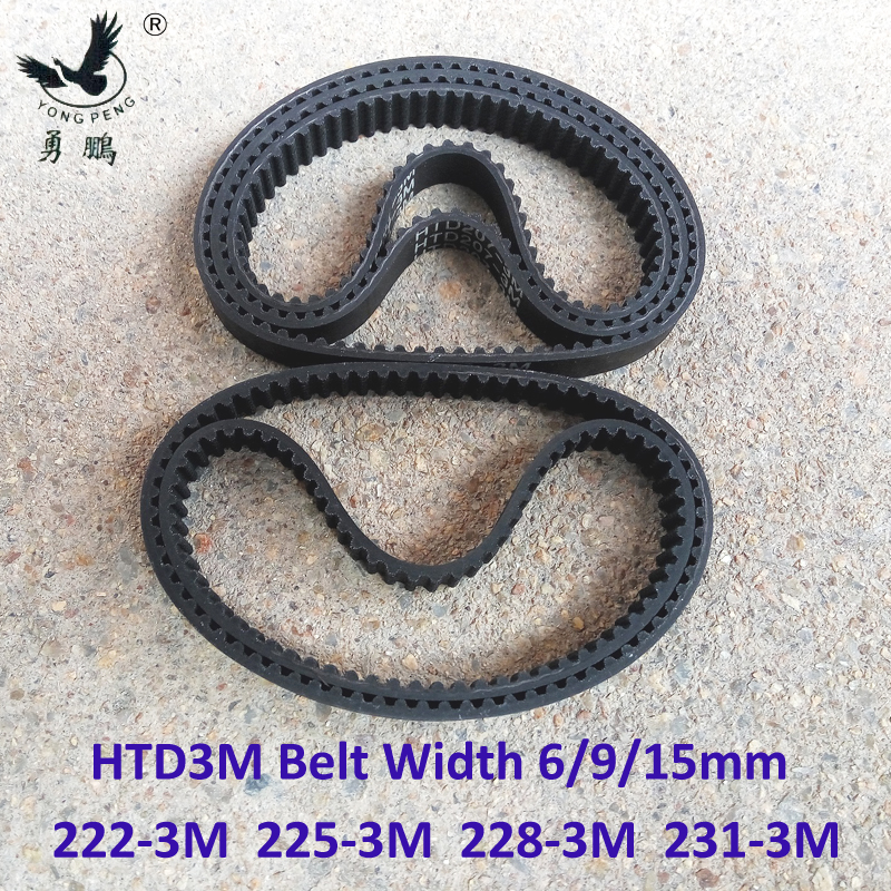HTD 3M Timing belt length 222 225 228 231 width 6/9/15mm Teeth 74 75 76 77 HTD3M synchronous pulley 222-3M 225-3M 228-3M 231-3M 1 52m x 0 3m 75