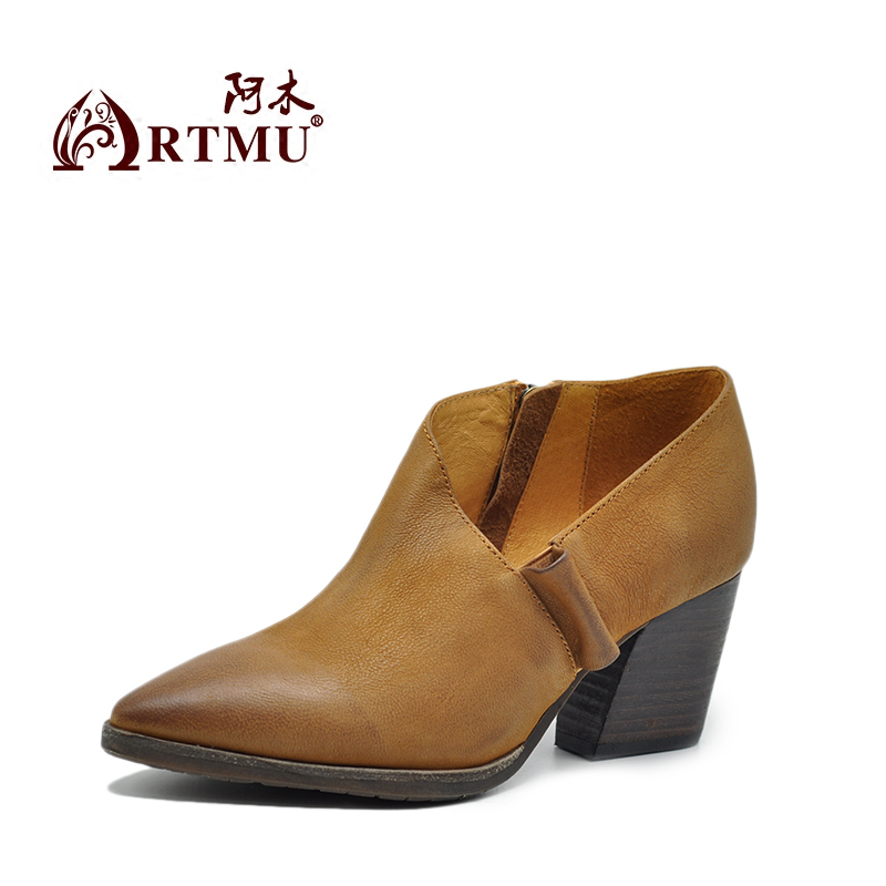 Artmu Fashion High Heels Women Pumps Shoes Woman Dress Sneakers Pointed Toe Leather Female Handmade Match Bags Shoes Hot