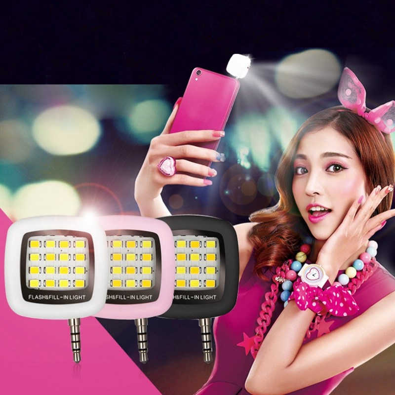 TOKOHANSUN Mini 16 LED Selfie ضوء فلاش آيفون الهاتف الذكي كاميرا دعم تشغيل iOS/أندرويد/WP8 الهاتف 3.5 مللي متر جاك التوصيل