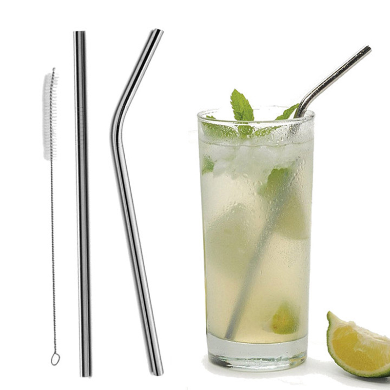 Reusable Stainless Steel Straws Eco Friendly Metal Drinking Straws Long Silver Bent Straight Straw Set Bar Cocktail Accessories in Drinking Straws from Home Garden