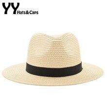 Vintage Sombrero Panamá hombres Fedora paja hombre Sombrero de las mujeres  de playa verano casquillo del visera de sol Sombrero . ae55f20216da
