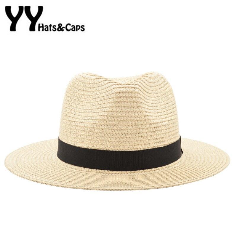 Vintage Panama Chapeau Hommes De Paille Fedora Mâle Sunhat Femmes D'été plage Pare-Soleil Chapeau chapeau Cool Jazz Trilby Chapeau Sombrero YY17161
