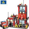 Estación de bomberos bombero building blocks establece modelo 300 + pcs enlighten educativos diy construcción ladrillos juguetes para los niños