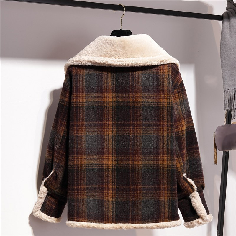 Autumn Winter 2018 Women Vintage Coat Jacket Button Elegant Plaid Coat Tops Pockets Long Sleeves Warm Jacket in Jackets from Women 39 s Clothing