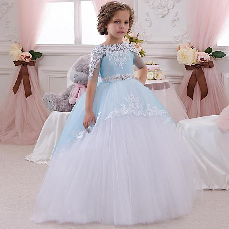Sideant Kjoler til Little Girls Lace Appliques Half Sleeves Beading Belt Open V Back Floor Lengde Ruffle Tulle Ball Gowns 0-14Y