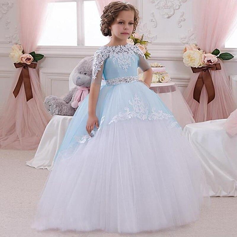Pageant Robes pour les Petites Filles Dentelle Appliques Moitié Manches Perles Ceinture Ouvert V Retour Étage Longueur Volants Tulle Robes De Bal 0-14Y