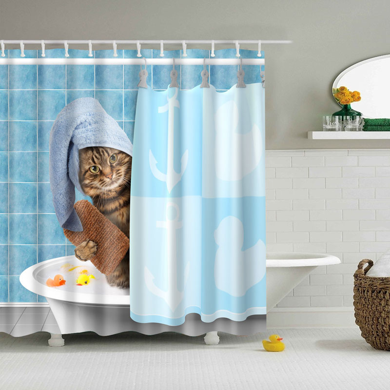 New Product Customize Funny Cat In The Bath Waterproof Shower Curtain Bathroom Curtains Size 48x72inch