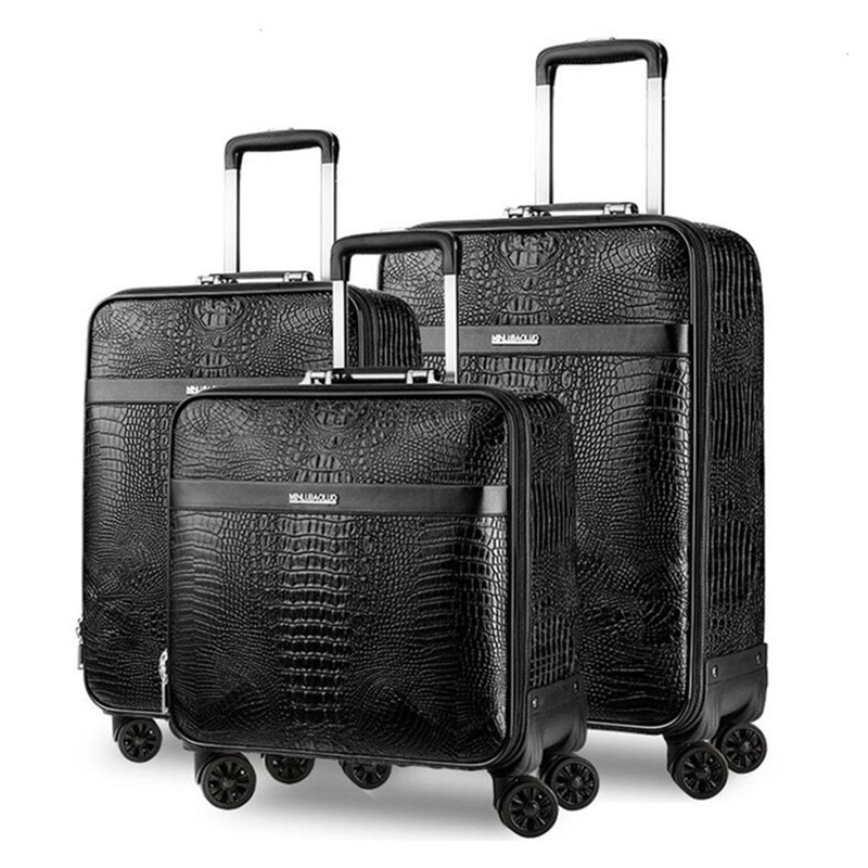 Genuine Leather Travel Suitcase Set Rolling Luggage Women Trolley Case With Wheels Man 20