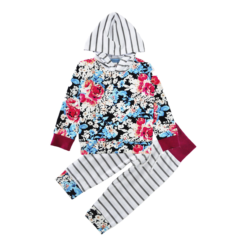Autumn Baby Girl Clothing Set 2017 Fashion Flower Hooded T shirt+Stripe Pants 2pcs Girl Boy Baby Set Autumn Infant Baby Clothes