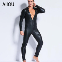 AIIOU Sexy Men's Black Faux Leather Jumpsuits Long Sleeves Deep V Fetish Wrestling Singlet Bodybuilding Bodysuits Men Jumpsuits
