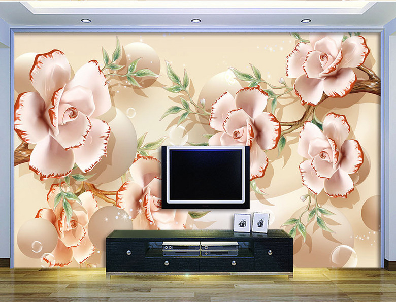Large 3d Wall Mural White Magnolia Flower Papel Murals
