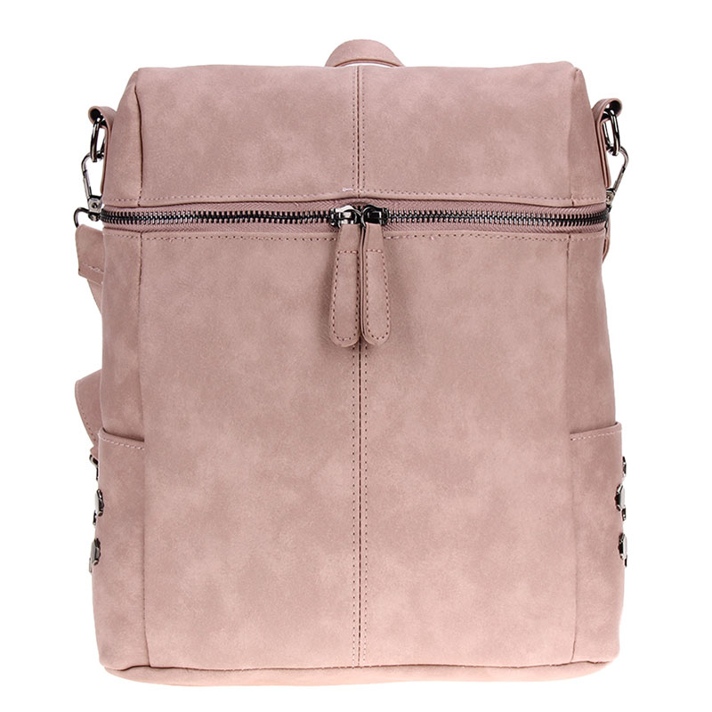 Simple Style Women PU Leather Backpacks For Teenage Girls School Bags Fashion Vintage Solid Shoulder Bag Pink Mochila Rucksack vintage tassel women backpack nubuck pu leather backpacks for teenage girls female school shoulder bags bagpack mochila escolar