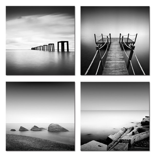 Modern canvas wall art black and white landscape wall decor seascape giclee prints sea wall decal
