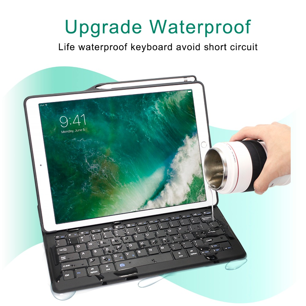 Image 3 - For iPad Air 3 Case Keyboard with Pencil Holder Smart Bluetooth Wireless Leather Silicon Folio For iPad Pro 10.5 Air 2019 Cover-in Tablets & e-Books Case from Computer & Office