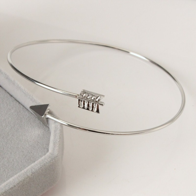 Открытые панковские регулируемые браслеты-манжеты со стрелкой для женщин, модные простые готические наручные браслеты в виде перьев, Подарочные ювелирные изделия - Окраска металла: LA152 Silver