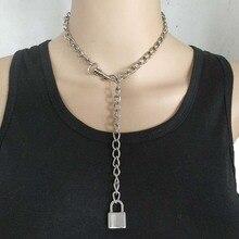Handmade Punk Rock Men Women Lock Pendant Choker Unisex Cool Gothic Necklace PadLock Chain Collar