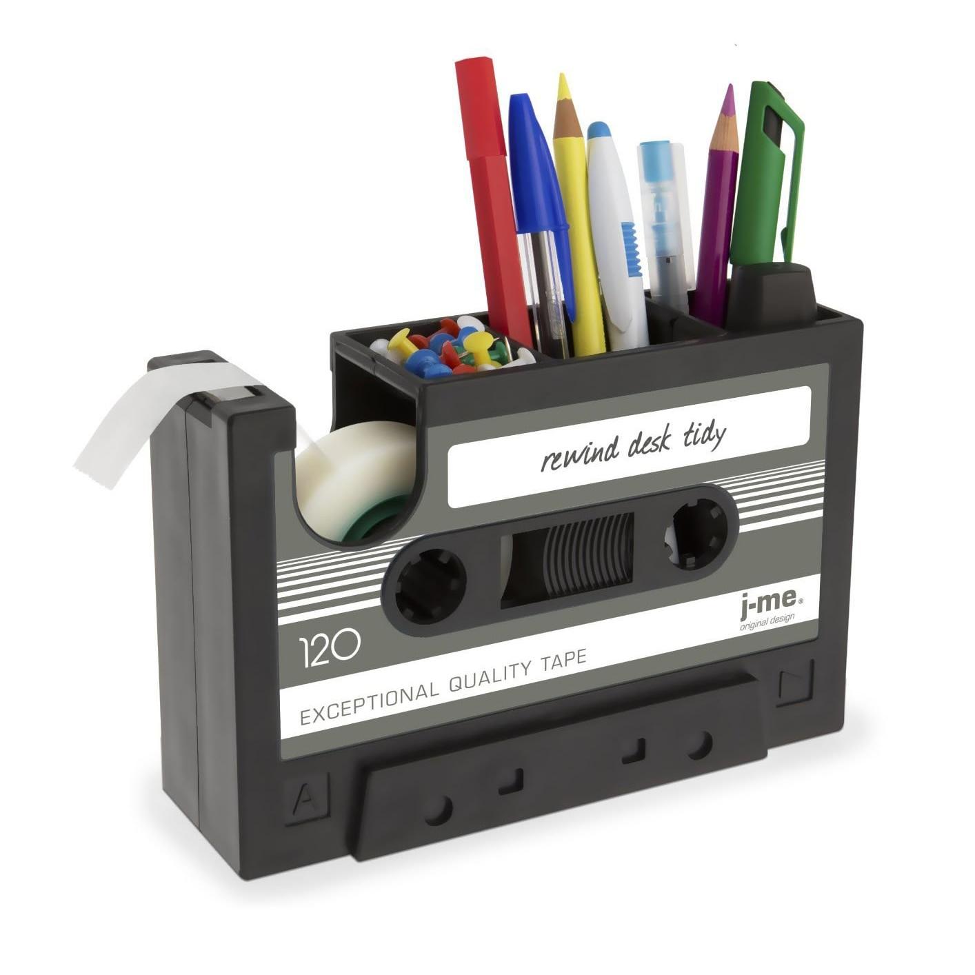 Cassette Tape Dispenser Pen Holder Vase Pencil Pot Stationery Desk Tidy Container Office Stationery Supplier Gift(black)