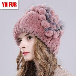 Image 2 - Russia Women Real Rex Rabbit Fur Hats Outdoor Elastic Knitted 100% Genuine Rex Rabbit Fur Cap Winter Warm Real Fur Beanies Hat