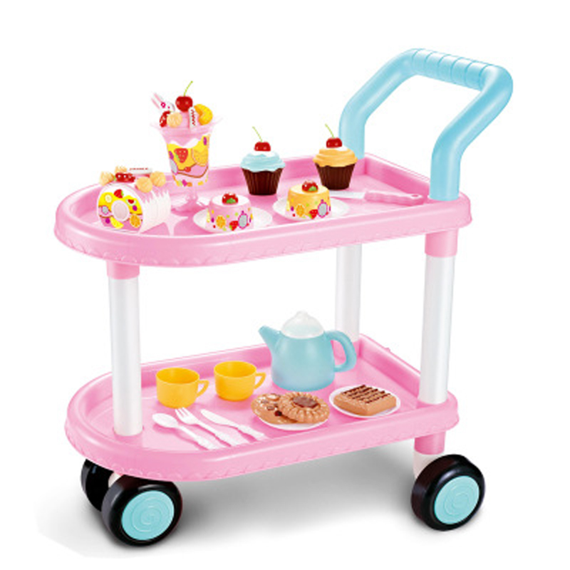 43PCS Pretend Play Trolleys car Kitchen Food Cake Coffee tea Cutting Toys Indoor Outdoor yellow pink Cook Cosplay For Chiledren