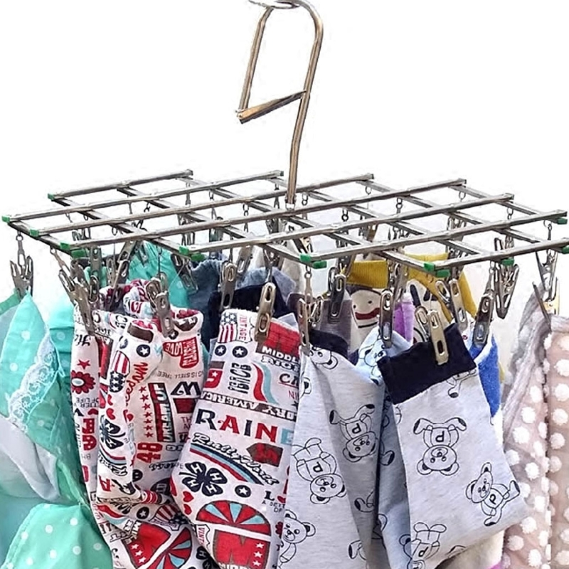 Windproof Laundry Hanger Collapsible Stainless Steel Hanging Rack 35 Clothespins Clothes Pegs Home Laundry Storage Organization