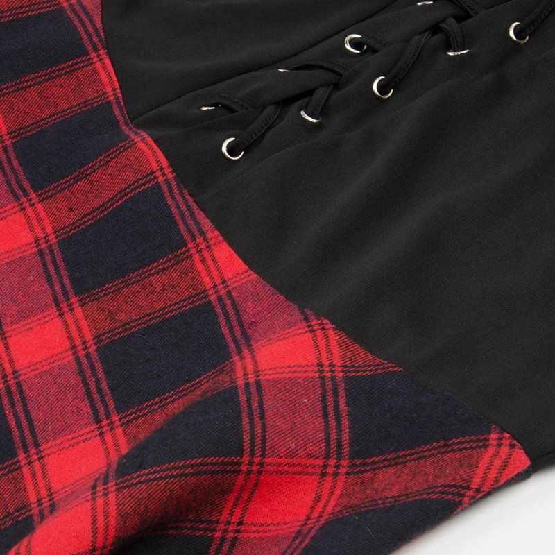 Женское модное клетчатое летнее платье с бретельками, сексуальное, с открытой спиной, на шнуровке, из кусков, кружевное, размера плюс 5XL, уличная одежда, повседневные готические короткие платья