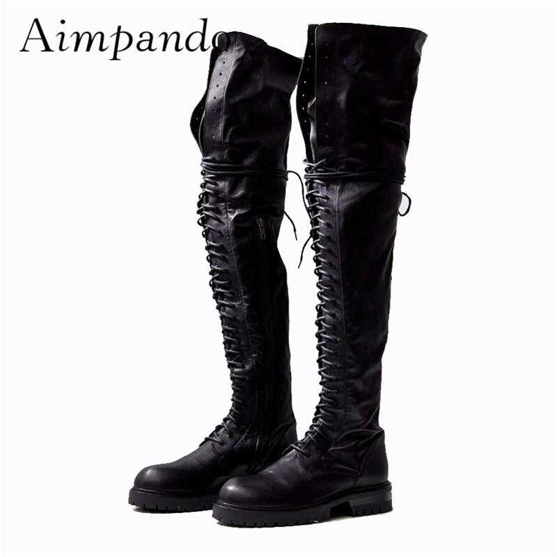 Punk Style Genuine Leather Knight Boots Square Heel Round Toe Cross-tied Over The Knee Boots Motorcycle Boots Women