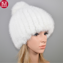 2020 New Lovely Real Mink Fur Hat Women Winter Knitted Real Mink Fur Beanies Hats Fox Fur Pom Poms Thick Warm Real Mink Fur Cap