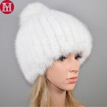 2020 novo chapéu de pele de vison real bonito feminino inverno malha real vison peles beanies chapéus de pele de raposa pom poms grosso quente real vison pele boné
