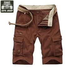 AFS JEEP Carga Shorts Verão Multi-pockets Casual Mens Calções Soild Algodão Bermuda Moletom Masculino Plus Size 42 Calções sem Cinto