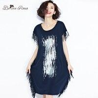 BelineRosa 2017 Plus Size Women Shirts Dress Summer European Style Tassel Long Shirt Dress Women S