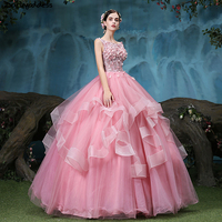2018 New Pink Quinceanera Dresses Sweet 16 Dresses For 15 Years Backless Lace Flower Ball Gowns Prom Dresses Vestidos De 15 Anos