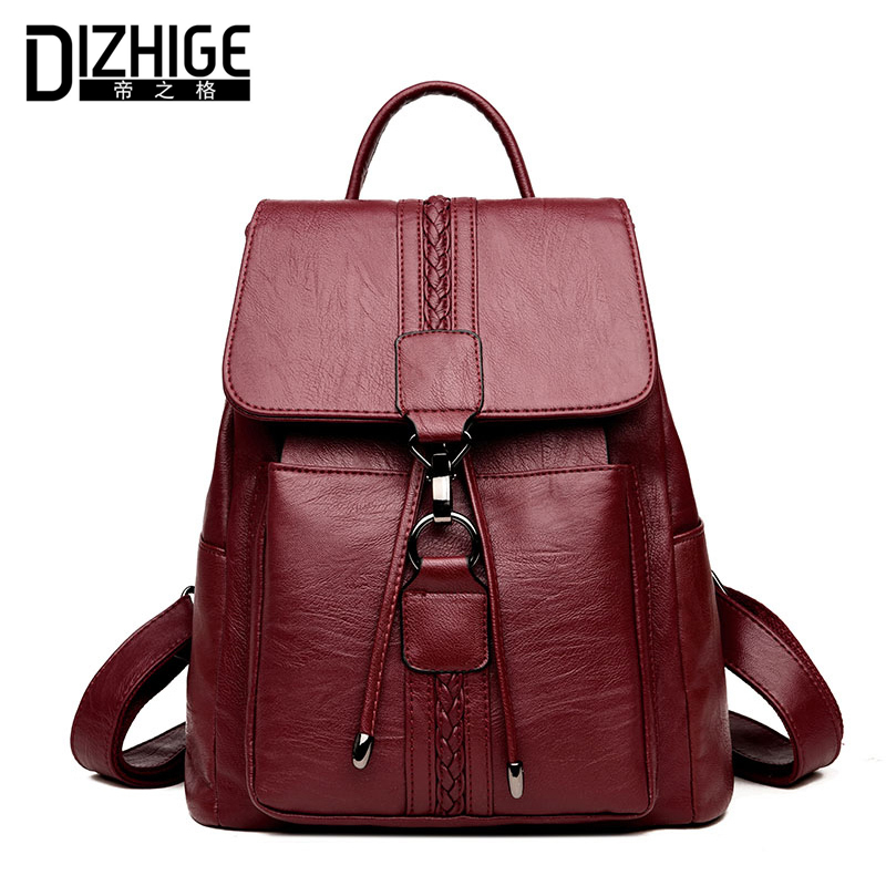 DIZHIGE Brand Fashion Women Backpack School Bags For Teenager Girls High Quality PU Leather Backpack Women Large Capacity 2018 high quality pu leather women backpack fashion solid school bags for teenager girls large capacity casual women black backpack l