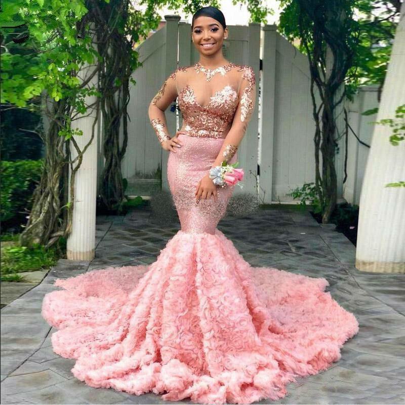 2019 Rose sirène robes de bal à manches longues Illusion Top avec Appliques robes de soirée Rose ruché balayage Train fille robe de soirée