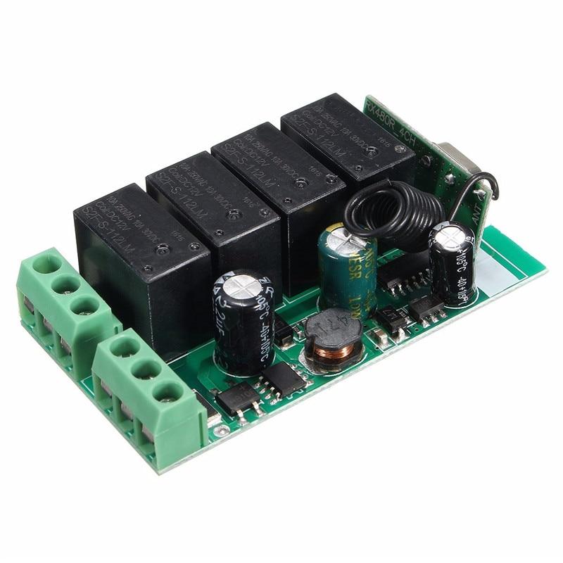 220V 4 Channel Wireless Relay RF Remote Control Switch DC 12V Relay Switch 433MHz