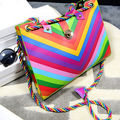 2015 summer messager bag  exquisite fashion PU leather women rainbow bag shoulder handbag simple bags
